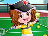 Малышка Хейзел играет в теннис