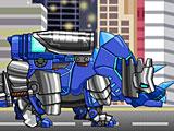 Собирать роботов динозавров: синий Трицератопс
